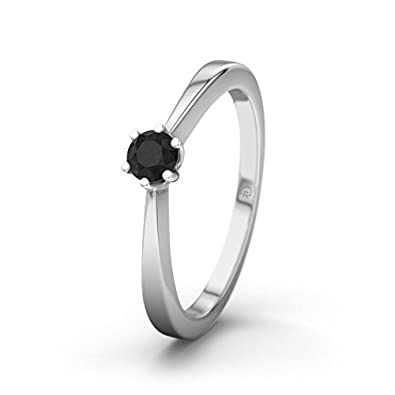 21DIAMONDS Women's Ring La Paz Black Round Brilliant Cut Diamond Engagement Ring - Silver Engagement Ring