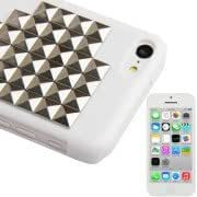 Stair Diamond Style Golden Rivet Plastic Protective Case for iPhone 5C (Silver)