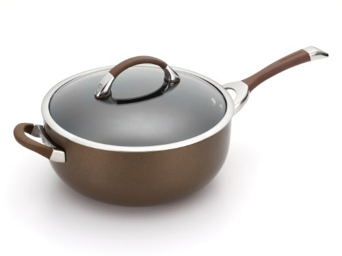 Circulon Symmetry Chocolate Hard Anodized Nonstick 6-Qt. Covered Chef Pan with Helper Handle