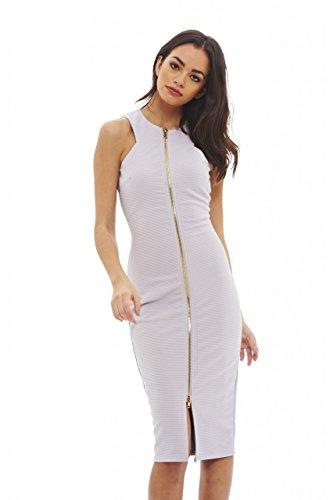 AX Paris Women's Zip Front Bodycon Dress(Grey, Size:6)