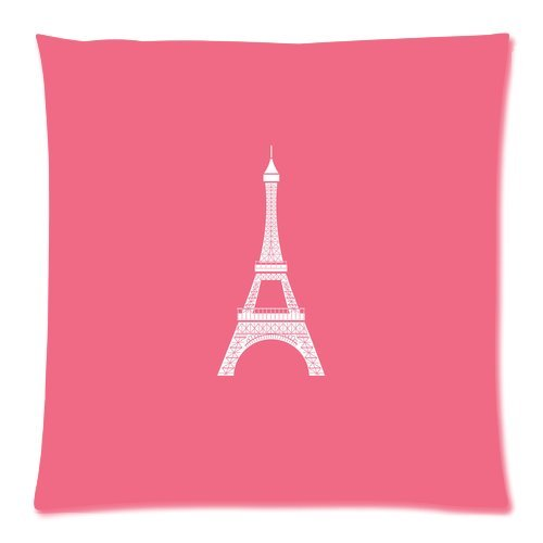 """Paris Landmark Eiffel Tower Pink Custom Zippered Pillow Cushion Case Throw Pillow Covers 20""""X20""""(Two Sides) front-1078364"""