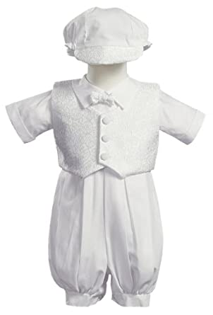 White Poly Cotton Christening Baptism Romper Set with Vest and Hat - Size S (3-6 Month)