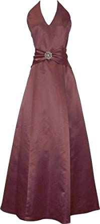 Satin Halter Dress Crystal Pin Prom Holiday Gown Formal Bridesmaid, XS, Burgundy