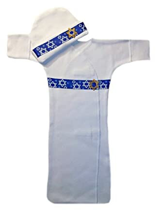 Jewish Celebrations Long Sleeve Gown Set (Newborn 0-3 Months to 12 Pounds)