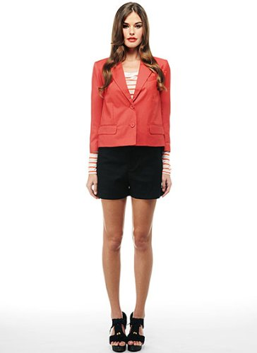 Bb Dakota Red Poppy Boxy Cropped Blazer Button Up Front And Double Pockets, Small