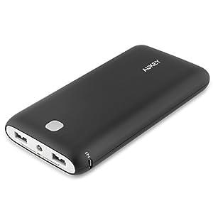 Aukey AIPower 大容量モバイルバッテリー スマホ充電器 20000mAh 薄型 (ブラック) PB-N15