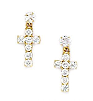 14ct Yellow Gold CZ Big Cross Screwback Earrings - Measures 15x7mm