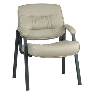 "Deluxe Visitors Leather Chair (Tan) (34.75""H x 25.5""W x 27.5""D)"