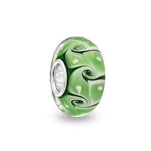 Bling Jewelry Green Swirl Sterling Silver Murano Glass Bead Troll Pandora Compatible