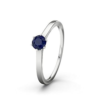 21DIAMONDS Women's Ring Amalfi Engagement Ring Blue Sapphire Princess Cut 14carat (585) White Gold Engagement Ring