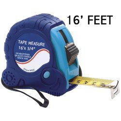 "16' Foot Tape Measure. Measuring tape 16' is retractable with metal ruler w/ lock & release for hold on tape reel. A great add to your toolbox or tool kit. Tape rule: 16' x 3/4"". Model: Tape Measure 16 with belt clip and durable rubber non-slip grip."