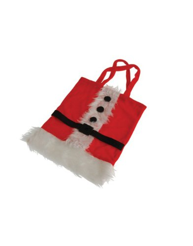 "11"" x 9"" Red White Fluffy Santa Suit Christmas Gift Bag Purse"