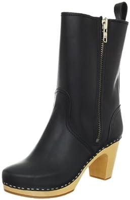 Swedish Hasbeens Women's Zip It Kassi Boot, Black/Nature, 6 M US