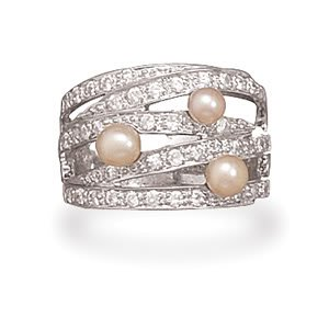 Sterling Silver Rhodium Plated Cultured Freshwater Pearl and CZ Ring / Size 6