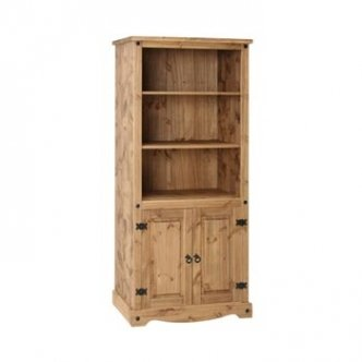Corona Mexican Pine Bookcase with Cupboard