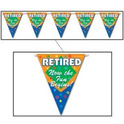 Retired Now The Fun Begins Pennant Banner Party Accessory (1 count) (1/Pkg)