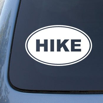 HIKE EURO OVAL - Hiking - Vinyl Car Decal Sticker #1715 | Vinyl Color: White
