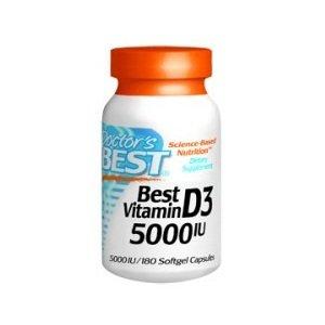Doctor's Best, Best Vitamin D3, 5000 IU, 180 Softgel Capsules