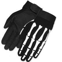 Skeleton Bones Biker Mechanic Gloves (Large)