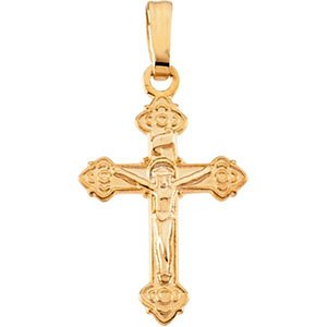Childrens 14k Yellow Gold Orthodox Crucifix Necklace with 15