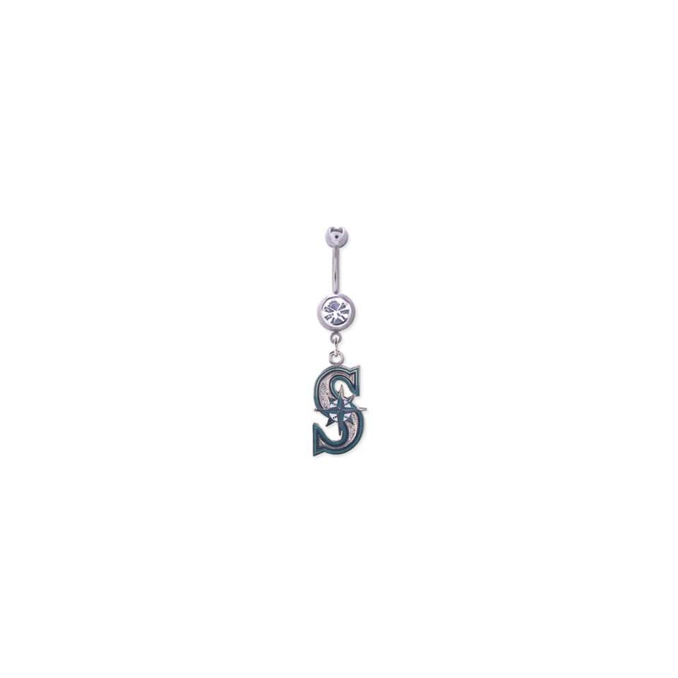 Seattle Mariners 316L Stainless Steel Belly Ring with Clear Gem   14G   5/8 Inch Bar Length   Sold Individually