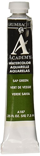 GRUMBACHER CHARTPAK Academy Watercolor Paint 7.5ml Tube, Sap Green (A187) - 1