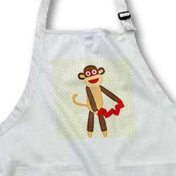 PS Fun Art - Cute Sock Monkey with Hearts - Animal Art - Aprons