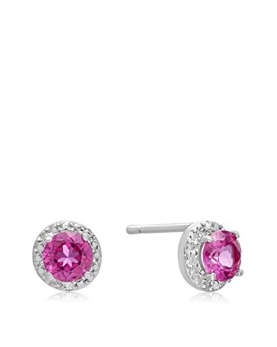 Adoriana 1 Cttw. Created Pink Sapphire & Diamond Stud Earrings