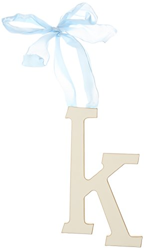 New Arrivals Wooden Letter K with Blue Solid Ribbon, Cream