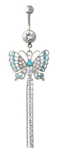 Sparkling Aqua Lt Blue & Crystal Clear Cz Pretty Butterfly Long Dangle Belly Button Navel Ring 14 Gauge
