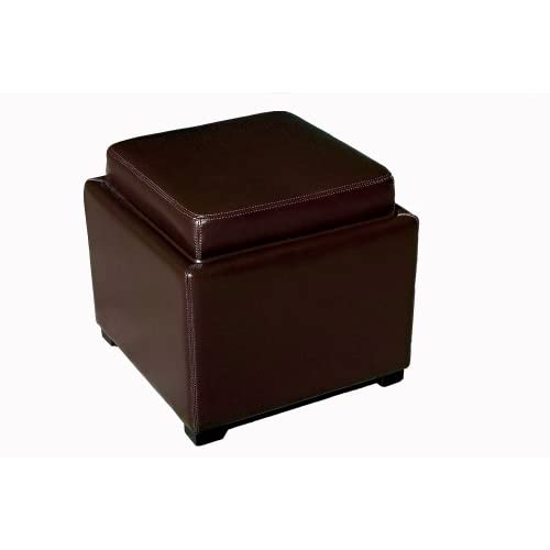 Baxton Studio Furniture Fabia Leather Ottoman with Storage