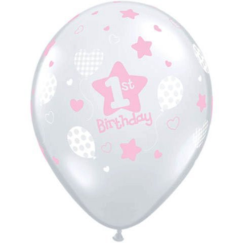 10 Pink Diamond Latex Balloons Girls 1st Birthday Party Supplies (Birthday Girl Supplies compare prices)