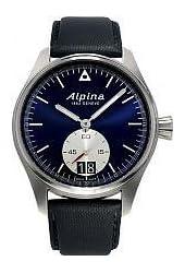 Alpina Startimer Pilot Big Date Black Blue Dial Black Leather Mens Watch AL-280NS4S6