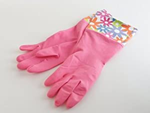 Elliott's Funky Cleaning, Rubber Gloves, Flowers Design