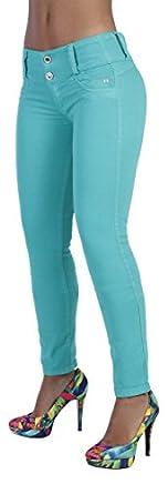 Curvify Women's Butt Lift Skinny Jeans - High Rise Brazilian Style Aqua 3