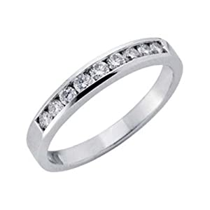 14k White Channel-Set Round 0.35 Ct Diamond Band Ring - Size 7.0 - JewelryWeb