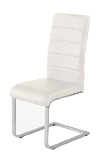 4-x-Design-Stuhl-Freischwinger-Piet-32-Kunstleder-creme-Esszimmerstuhl