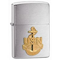 Zippo Brushed Chrome, Navy Anchor Emblem 280ANC