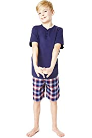 Pure Cotton Y-Neck Checked Short Pyjamas