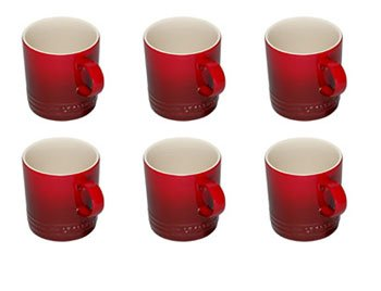 Set of 6 Le Creuset Mugs in Cerise