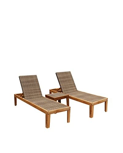 Panama Jack Leeward Islands Natural Teak 3-Piece Chaise Lounge Set