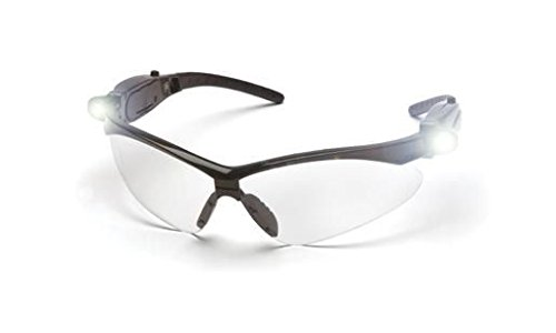 Pyramex Pmxtreme Safety Glasses, Black Frame Led Temples/Clear Lens