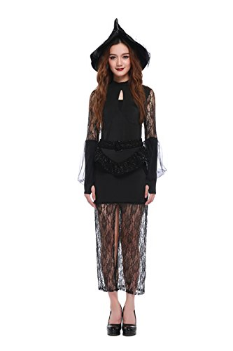 Women's Bewitching Beauty Fairy Witch Adult Halloween Costume (Solid Black) (Bewitching Beauty Sexy Costume)