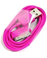 Câble USB pour iPhone 4, 4S, 3, 3G, iPad 1, 2, 3, iPod Touch 2G, 3G, 4G, Nano, Classic - rose shocking
