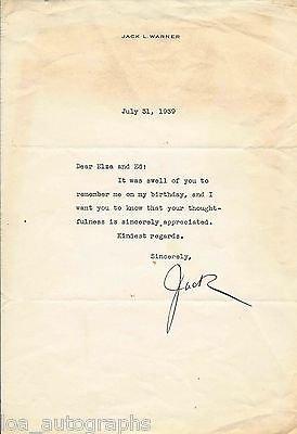 Jack L. Warner Warner Bros. President / Executive 1939 Signed Letter Als Rare