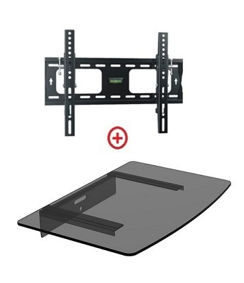 "Mount World 952T43 Low Profile Lcd Led Plasma Tv Tilt Wall Mount With Bundle Single Glass Shelf Of Cable Box Dvd Player Stereo Components For Most 22"" To 42"" (Vesa 100X100 200X100 200X200 300X300 400X200 400X300) Lcd Lcd Of Sony Samsung Vizio Toshiba Pana"
