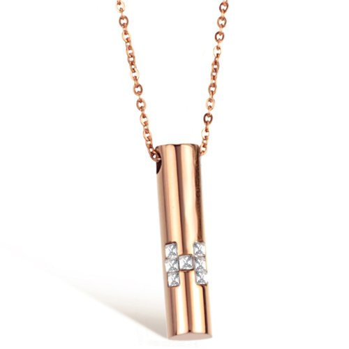 Opk Jewellery Fashion Stainless Steel Necklace High Quality Rose Gold Plated Cyclinder Cute Crystal Pendant,Women's Necklets