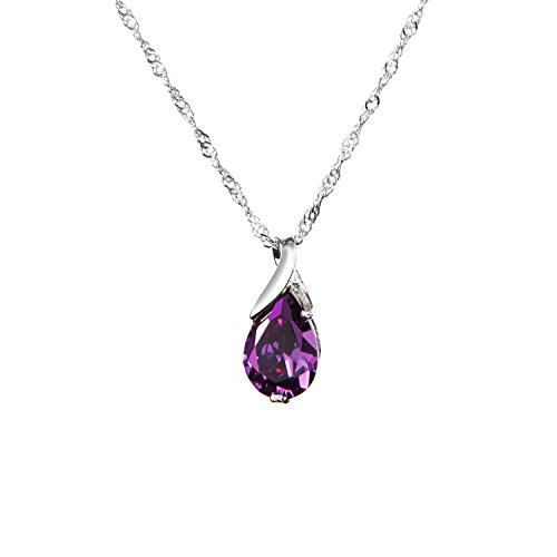 Lokman S925 Silver Necklace Platinum Plated Amethyst Angeltear Pendant Jewelry (Pure Amethyst Crystal compare prices)