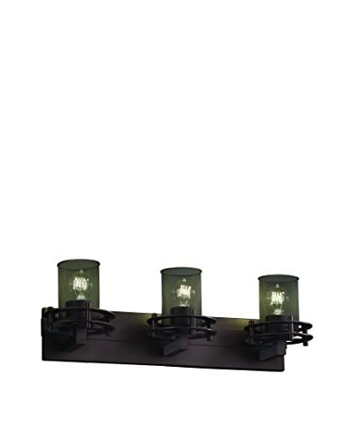 Justice Design Circa 3-Light Bath Bar, Dark Bronze/Black Mesh