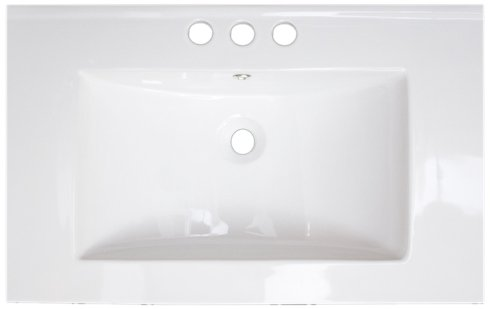 American Imaginations 424 24-Inch by 18-Inch White Ceramic Top with 4-Inch Centers